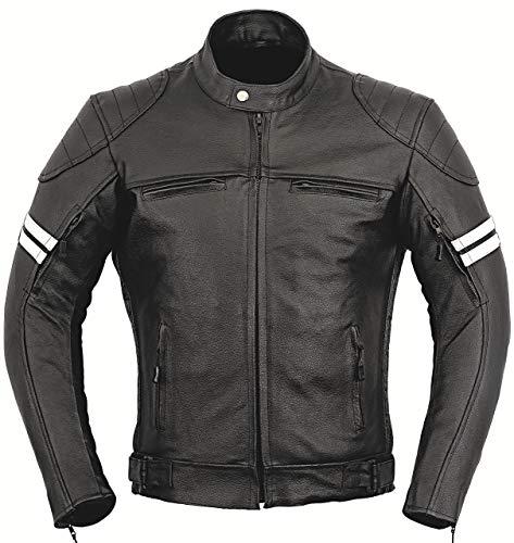 GearX Franklin Leder Motorrad Jacke Motorradfahrer Männer Schutz Mantel - schwarz, M