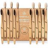 Greenzla Cepillos de Dientes de Bambú (Kit de 12) | Cepillos de Dientes de Carbón de Cerdas Suaves | Cepillo de Dientes de Bambú Natural y Ecológico | Madera Biodegradables y 100% Orgánicos