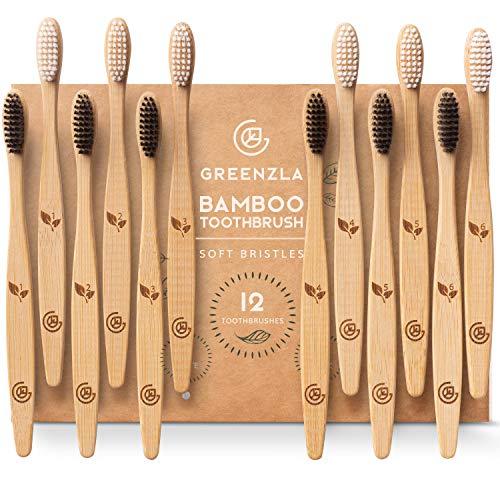 Greenzla Bambus Zahnbürsten (12er-Pack)