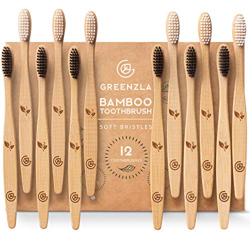Greenzla Bamboo Toothbrushes (12 Pack) | BPA Free Soft Bristles Toothbrushes | Eco-Friendly, Natural Bamboo Toothbrush | Biodegradable, Compostable & 100% Organic Charcoal Wooden Toothbrushes