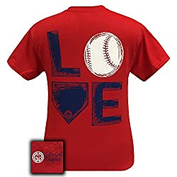 Girlie Girl Originals Love Baseball Red T-Shirt