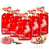 Christmas Treat Bags, 50 Packs Plastic Drawstring Gift Party Favor Bag Pouch, Candy Goodies Bag for Christmas Party Holiday Favor Party Snack Wrapping