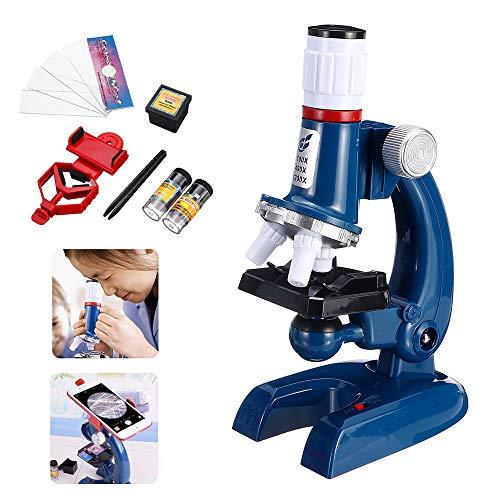 QOUP Kinder Wissenschaft Mikroskop Kit, 100X-400X-1200X Biologisches Mikroskop, biologische Wissenschaftliche Forschung Bildung, mit LED-Leuchten