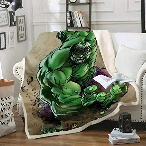 DFTY Marvel Avengers - Coperta in pile per bambini, Hulk Manga, stampa digitale 3D, in microfibra, per campeggio, 5, 100 x 140 cm