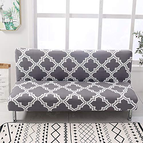 Beacon Pet Stretch Sofa Slipcover Armless Futon Cover Printed Fitted Furniture Protector Elastic Polyester Spandex Washable Armless Sofa Cover Folding Couch Shield Sofa Cover