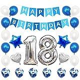 Liitata Globos de cumpleaños para 18 cumpleaños plateados y azules, con número 18, globos plateados con forma de corazón, globos de helio, confeti, globos para niñas y niños, decoración de cumpleaños