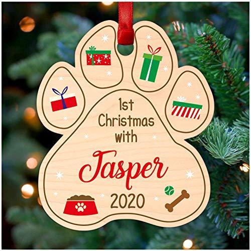 Personalised Dog Pawprint Christmas Tree Decoration - 1st Christmas with Dog Paw Print Decoration - Printed Wood Christmas Tree Ornament for Dog Puppy Pug Labrador Terrier Retriever Bulldog