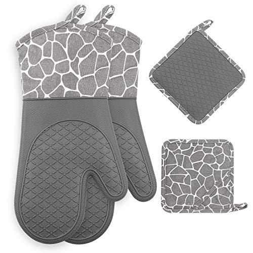 Gesentur Ofenhandschuh, Topfhandschuhe Anti-Rutsch Hitzebeständige Silikon und Baumwolle 1 Paar und 2 Topflappen (Gray)