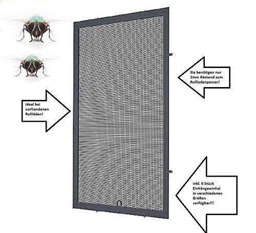 Fliegengitter- Fenster- Mücken- Insektenschutz- Alu- Anthrazitgrau RAL7016 optimal für Rolläden (100cm x 120cm, 19mm Einhängewinkel)