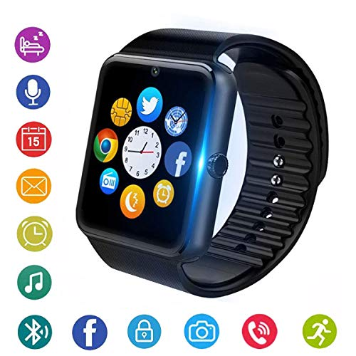 smartwatch sim Smartwatch Bluetooth Smart Watch Phone Orologio Intelligente con SIM Card Slot Fotocamera Fitness Tracker Pedometro Sport Watch per iPhone Huawei Samsung Xiaomi Android Uomo Donna Bambini (nero)