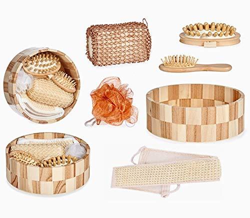 Coffret de Bain Luxe, Set de 6 Accessoires: lanière de Gommage - Brosse de Massage Anticellulite - Brosse à Cheveux - Fleur de Douche - Eponge Luffa - Jolie Boite en Bois