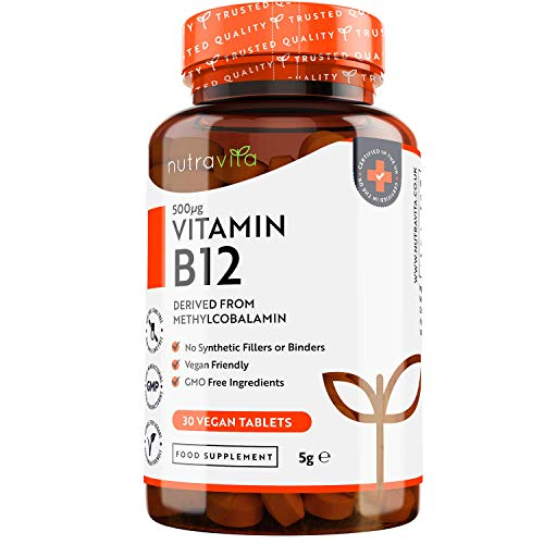 Vitamin B12 500mcg - 30 Tablets (1 Month Supply) of Vegan Methylcobalamin - Contributes to The Reduction of Tiredness and Fatigue - Made in The UK by Nutravita