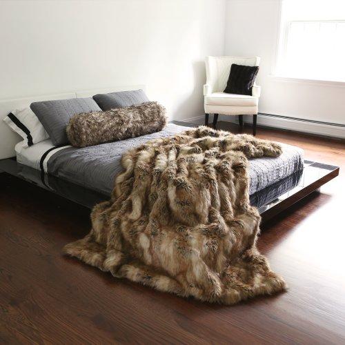 Best Home Fashion Amber Fox Faux Fur Full Throw Blanket 58