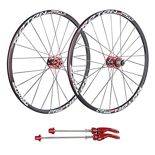 26'27.5' Rueda Bicicleta de montaña, MTB Ruedas de Bicicleta Hub de Fibra de Carbono Llanta de aleación de Aluminio de Doble Pared - Aproximadamente 1820 g, Rojo-27.5 Pulgadas