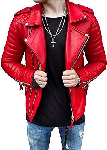 Kanye West - Chaqueta de piel de cordero para hombre, color rojo