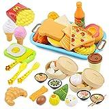 SKY TEARS Küchenspielzeug und Essen Spielen Set, Spielzeug für Rollenspiel, Pädagogisch Spielzeug für Kinder/Kleinkinder, Geschenk für Jungen/Mädchen
