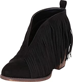 Cambridge Select Women's Western Fringe Chunky Stacked Heel Ankle Bootie