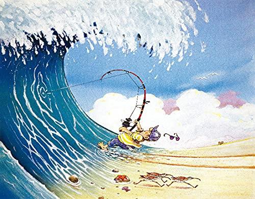 TISAGUER 5D Diamante Pintura por Número Kit,Hombre divertido Pesca en una ola Dibujos animados Ilustración del océano Ola enorme Pescador de playa Cangrejo Humor Escena naturaleza,Diamond Painting kit