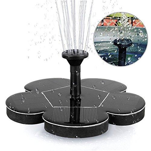Migimi Solar Springbrunnen, Solar Teichpumpe Outdoor Wasserpumpe Solarpumpe mit 1.4W Monokristalline Solar Panel Brunnen für Gartenteich, Vogel-Bad, Fisch-Behälter, Kleiner Teich, Garten Springbrunnen