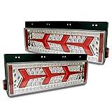 シーケンシャル ファイバー LEDテールランプ トラックテール 運転席 助手席 3連 左右セット 角型 24V