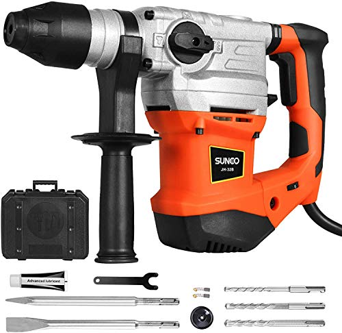 SUNCOO SDS-Plus Rotary Hammer Drill, 13.2 Amp Demolition Hammer with 4400BPM, 950RPM, 7Joules Impact Energy, Safety Clutch and Vibration Control, Including 3 Drill Bits, Point & Flat Chisel