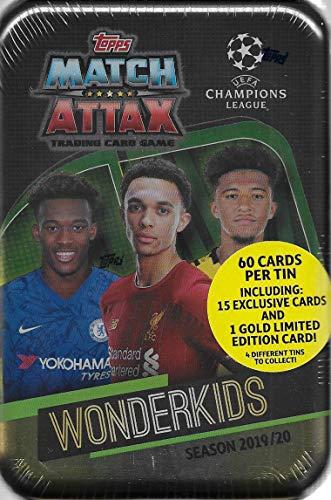 Match Attax 2019 2020 Topps UEFA Champions League Juego de Cartas de fútbol Selladas Mega Collector's Tins con Tarjetas de Oro y Inserciones exclusivas, WonderKids