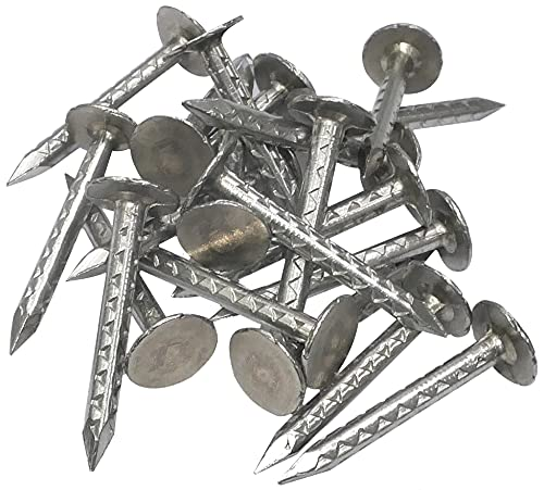 AERZETIX - Juego de 20 - Clavos con cabeza plana ancha puntas - Ø2.8x30mm - en acero inoxidable A2 - para chapa ondulada cubierta y revestimiento - DIN 10230 - C48525