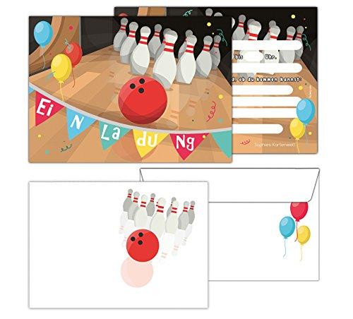 Sophies Kartenwelt Einladungskarten mit Umschlägen Bowling / Geburtstagseinladungen Jungen Mädchen Kinder / Einladungen Pin Bowlingkugel