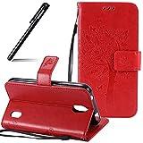 Huawei Y625 Hülle Leder Rot,BtDuck Original PU Leder Stand Tasche Katze Muster Schutzhülle mit Standfunktion Kredit Kartenfächer Magnetverschluss Briefcase Damen Flip Cover Handyhülle Huawei Y625
