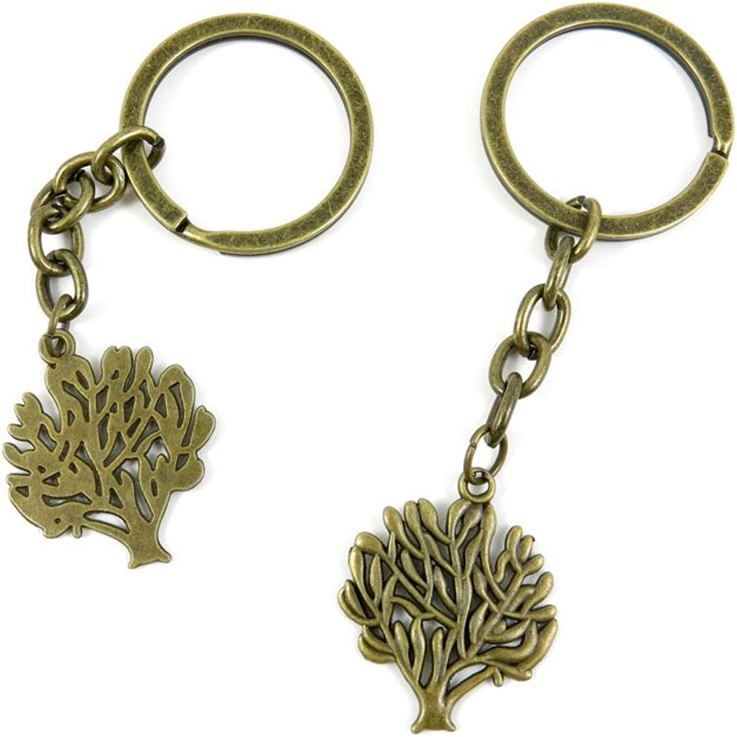 100 PCS Keyrings Keychains Key Ring Chains Tags Jewelry Findings Clasps Buckles Supplies H0VR2 Tree Oak