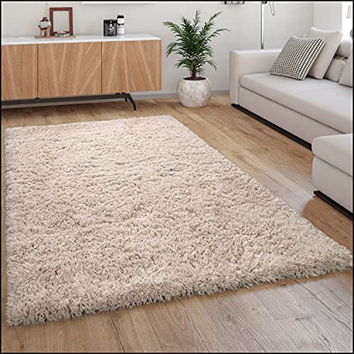 Paco Home Tapis Poils Hauts Moelleux Moderne Shaggy Style Flokati Confortable Uni Beige, Dimension:160x230 cm