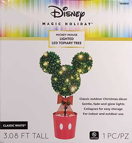 Disney Mickey Mouse LED Topiary Tree Christmas Decoration, White