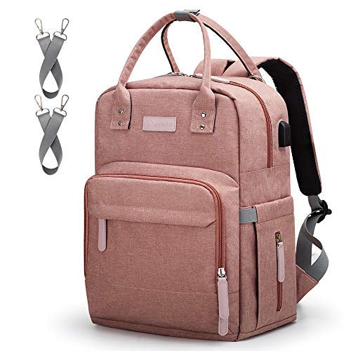 Diaper Bag Backpack Upsimples Multi-Function Maternity Nappy Bags for Mom&Dad, Baby Bag with Laptop Pocket,USB Charging Port,Stroller Straps, Pink