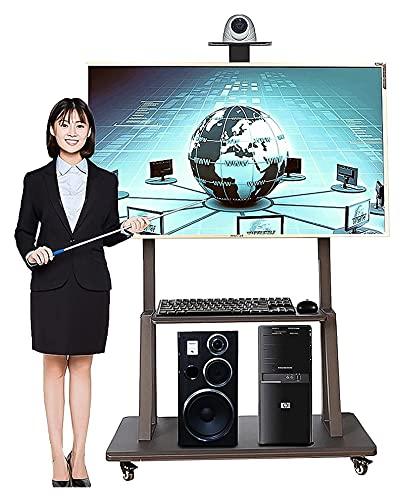 Móvil Negro TELEVISOR Stand, para más de 50 Pulgadas TV sobre Ruedas, Pisos portátiles de Rolling Universal TELEVISOR Carrito con 2 estantes, Sala de Estar/Sala de conferencias. TELEVISOR Soporte de
