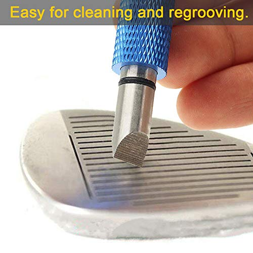Golf Club Groove Sharpener, Re-Grooving Tool and Cleaner for Wedges & Irons - Generate Optimal Backspin - Suitable for U & V-Grooves