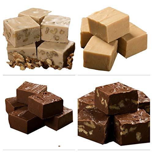Betsy's Fancy Fudge Variety Box, 1/4 lb each of CHOCOLATE, CHOCOLATE WALNUT, PEANUT BUTTER, MAPLE WALNUT - 1 LB, Gluten Free Candy, Fresh Gourmet Fudge, Makes Great Gift! (0.25 Lb Chocolate)