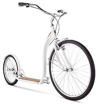 Schwinn Shuffle Adult Scooter 26-Inch Front Wheel 20-Inch Rear Wheel Alloy Linear Pull Brakes Steel Frame White