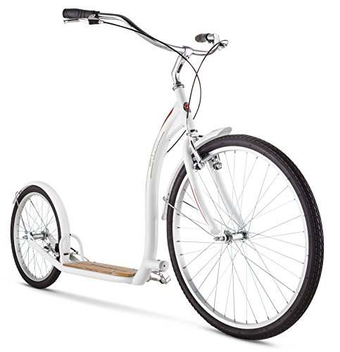 Schwinn Shuffle Adult Scooter, 26-Inch Front Wheel, 20-Inch Rear Wheel, Alloy Linear Pull Brakes, Steel Frame, White