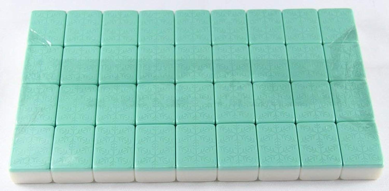 LIULAOHAN Mahjong-Set, weiche Stoffverpackung Travel Portable 144 Aquamarin kratzfestes Melamin-Mahjong, 3 Gren verfügbar, für Familienfeiern Freizeit im Freien geeignet