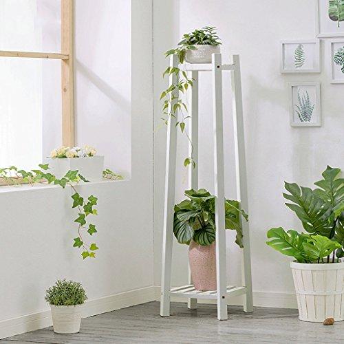 Support en bois de fleur pour le balcon de salon d'intérieur, support à fleur de plancher de bois de pin de 2 étages