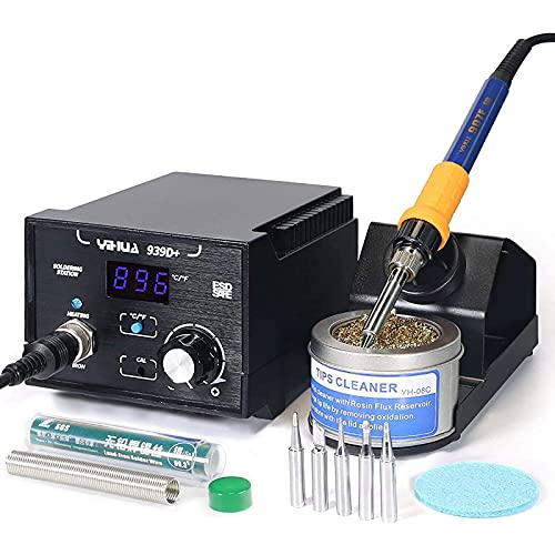 YIHUA 939D+ Digital Soldering Station, 75 Watt Equivalent with Temperature Control, °C/°F Display. ESD safe for Electronics. Aluminum Panel (Resists Burn). Solder Tips, Lead-free Solder & Extras