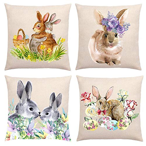 Ydq Set of 4 Rabbit Print Cushion Cover Cotton Linen Throw Pillow Cover Home Decorative for Living Room Bedroom Sofa Chair 18X18 Inch / 15.7X15.7Inch Pillowcase,A,40x40cm