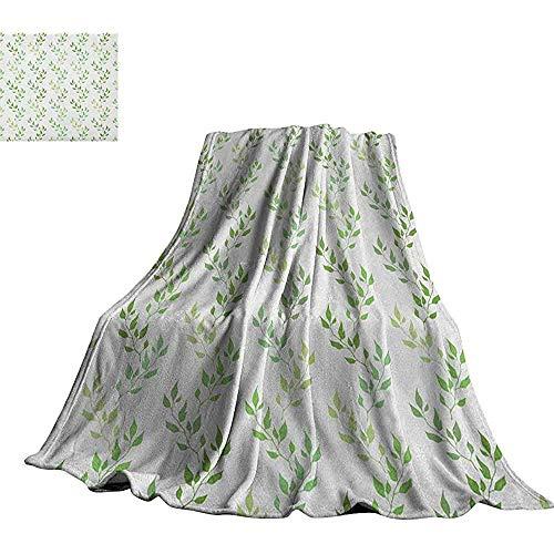 mallcentral-EU Blatt, weiche Decken Symmetrische Olivenblätter und gewellte Zweige mit ethnischen Mustern Klassische Illustrations-Decke für Bettcouch