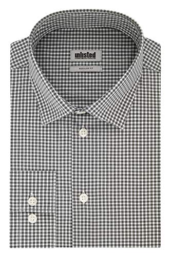 Unlisted by Kenneth Cole Men's Dress Shirt Regular Fit Checks and Stripes (Patterned), Jet Black, 16'-16.5' Neck 32'-33' Sleeve (Large)