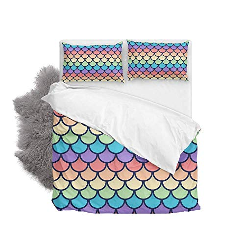 Rainbow Fish Scales Soft Quilt Bedding Set Duvet Cover with Pillowcases Set 2 PCS 155 x 220 CM, Full Size