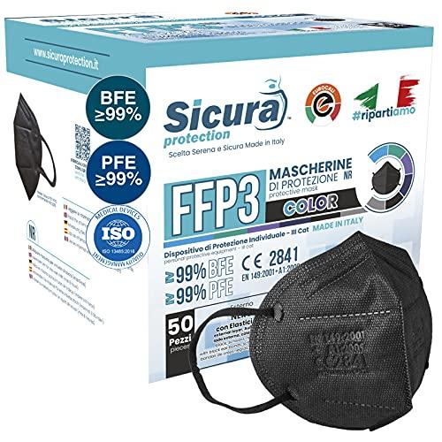 50 Mascherine FFP3 Certificate CE Nere Made in Italy e logo SICURA impresso PFE ≥99%   BFE ≥99% Mascherina ffp3 italiana SANIFICATA e sigillata singolarmente. Pluri certificata ISO 13485 e ISO 9001