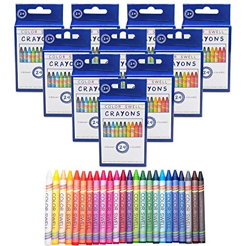 Color Swell Crayons Bulk 10 Packs of 24 Count Vibrant Colors Teacher Quality Durable for Families Class Party Favors