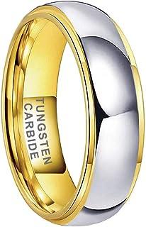 iTungsten 4mm 6mm 8mm Gold/Rose Gold Tungsten Rings for Men Women Wedding Bands Domed Stepped Edges Brushed Polished I Lov...