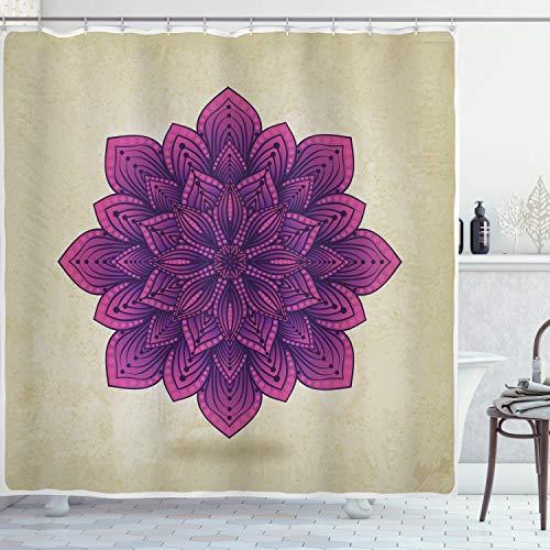 ABAKUHAUS Lotus Duschvorhang, Lila Retro-Motiv, Waserdichter Stoff mit 12 Haken Set Dekorativer Farbfest Bakterie Resistet, 175 x 200 cm, Eierschale Fuchsia