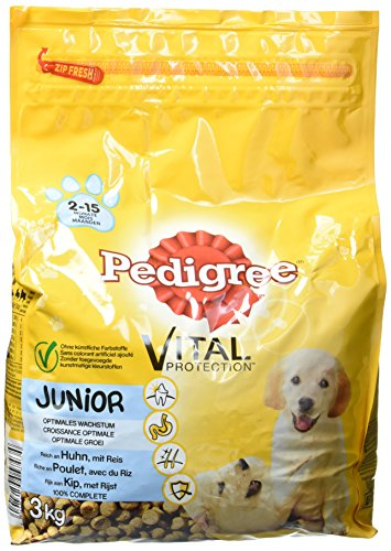 Pedigree Croquettes pour chien Junior au poulet et au riz, 3 sachets (3 x 3kg)